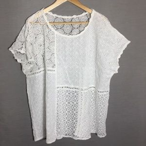 Lace detailed dropped shoulder top